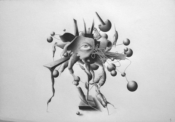 Trophy for Best Orgasm – drawing with pencil on paper by Allan Bech.