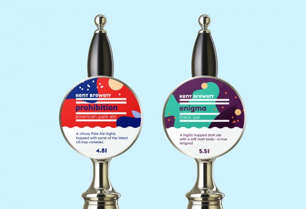 Two coaster designs used on the taps.