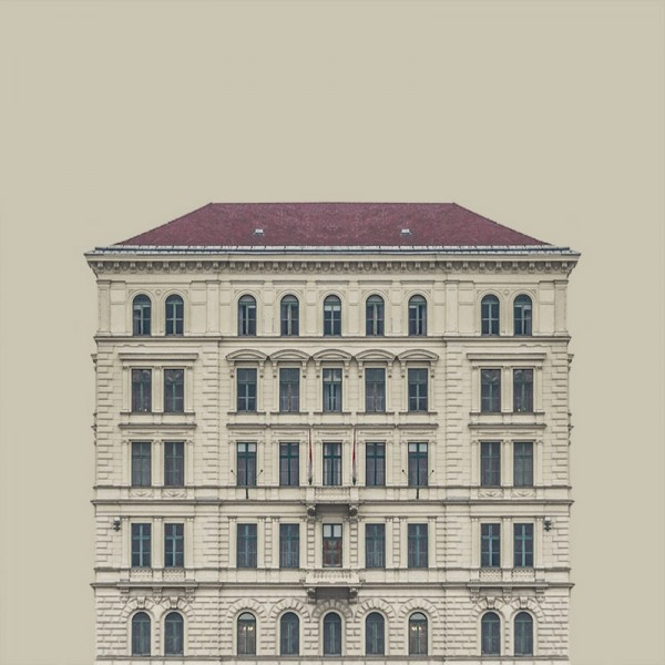 A homogeneous setting based architectural shapes and pale, uniform colors.
