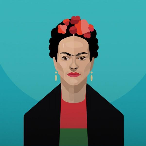 A digital portrait of Frida Kahlo.