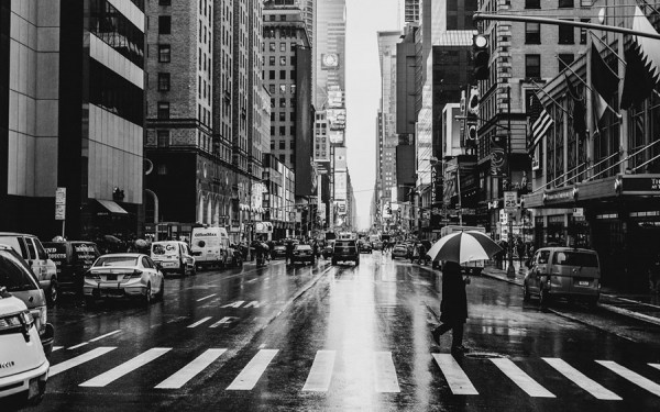 A rainy day in Manhattan captured in black and white.