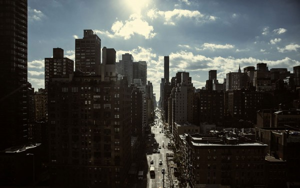 A street of Manhattan photographed against the sunlight.