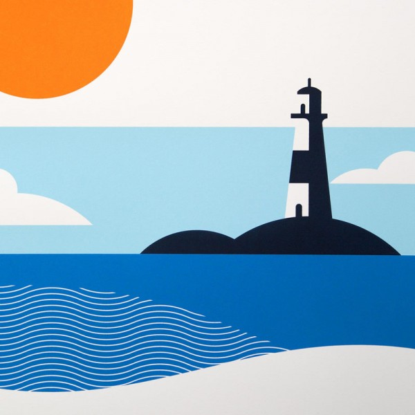 Close up of the lighthouse illustrations from The Lost Fox.
