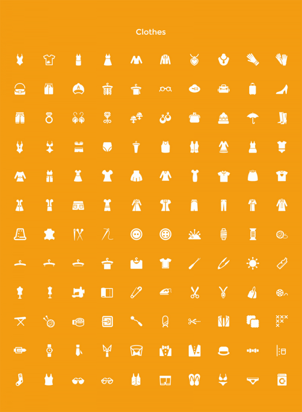 The extensive set of Clothes icons.