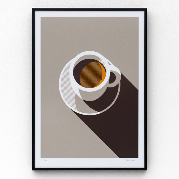 Espresso, an A3 limited edition, hand-pulled screen print in three colors on 270gsm Colorplan Bright White.