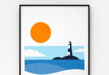 Lighthouse – A2 limited edition screen print in four colors on 270gsm Colorplan paper.