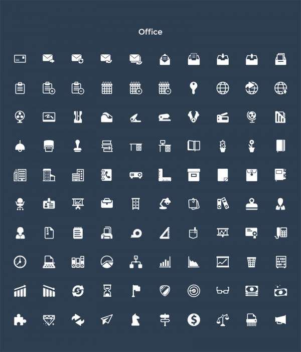 Also included, an Office icon set.