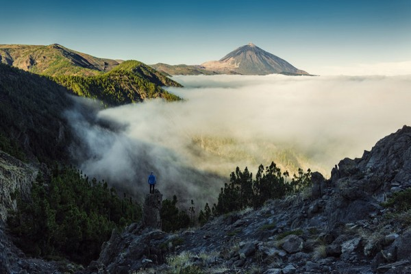 Over the clouds with a great view of mount Teide.