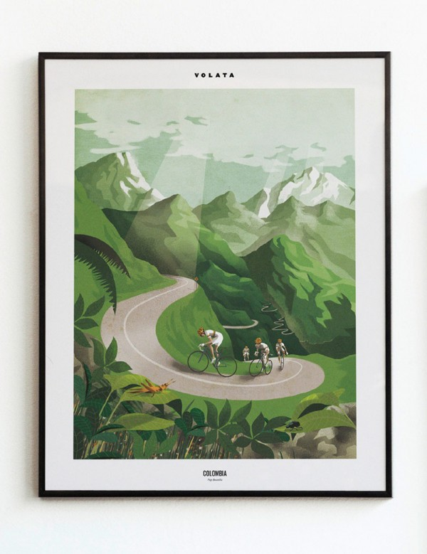 Pep Boatella illustrates some cyclists training in a typical Colombian landscape.