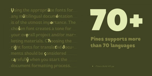 The Pines font family supports more than 70 languages.