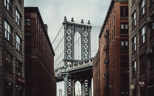The famous Manhattan Bridge, view from Brooklyn.