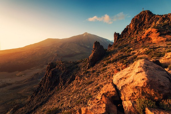 The rugged mountain landscape on Tenerife with a view of mount Teide.