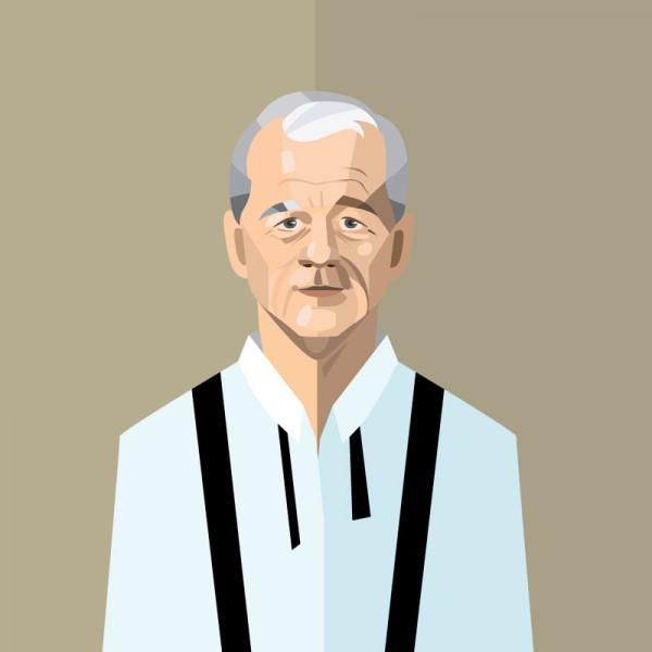 Vector portrait of Bill Murray.