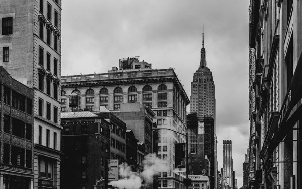 View from one of Manhattan's countless streets of the Empire State Building.