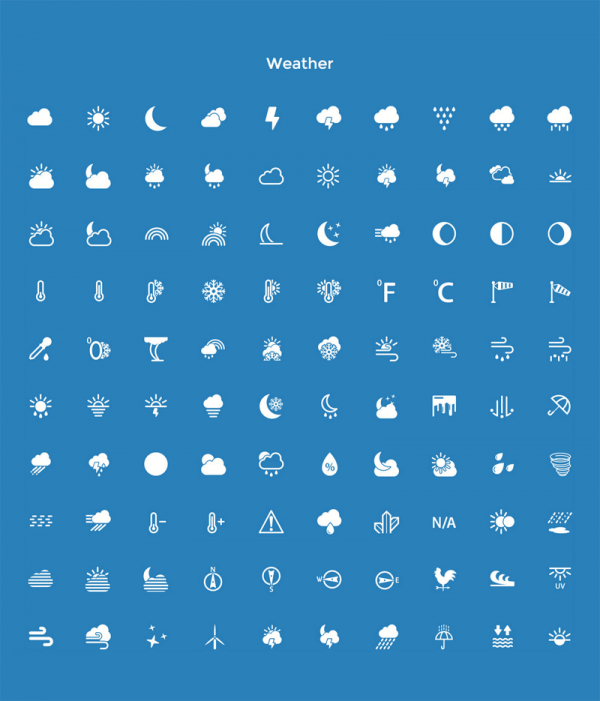 A range of Weather pictograms.