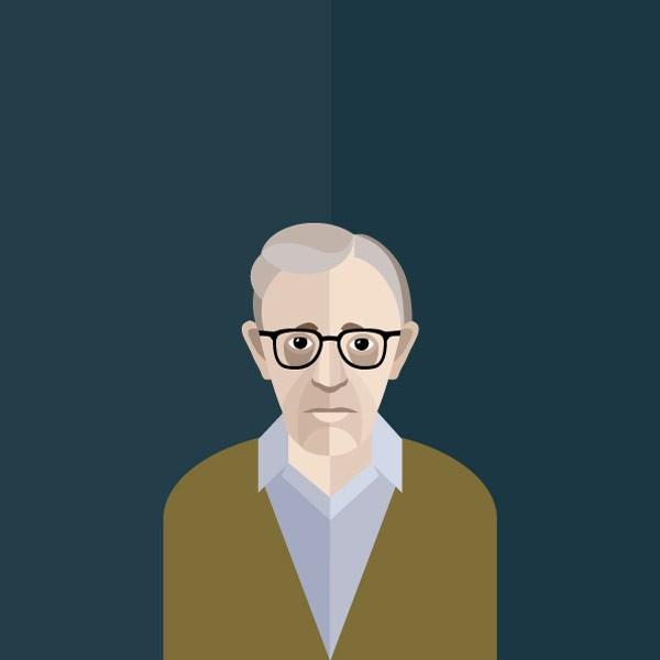 Woody Allen's sad face illustrated by Irina Kruglova.