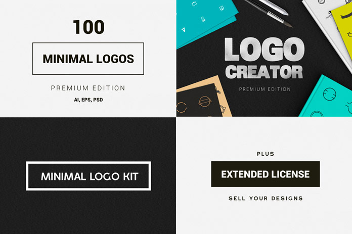 A mega bundle of minimalist logos and logo templates from DesignDistrict.