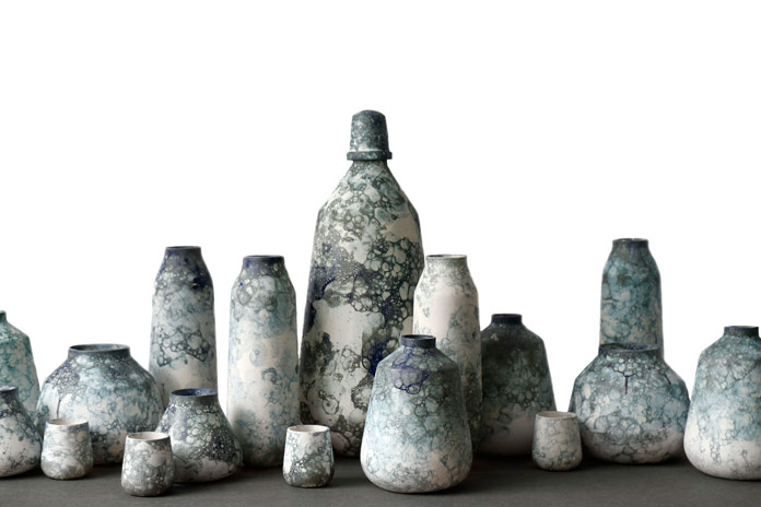 Bubblegraphy, a collection of soap glazed ceramic vases by Studio Oddness.