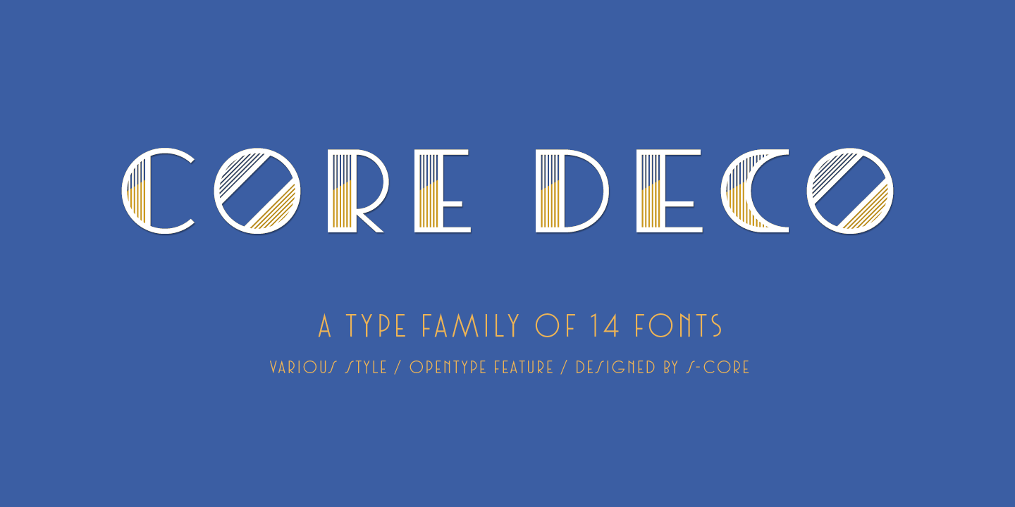 Core Deco is an Art Deco font family with numerous styles.