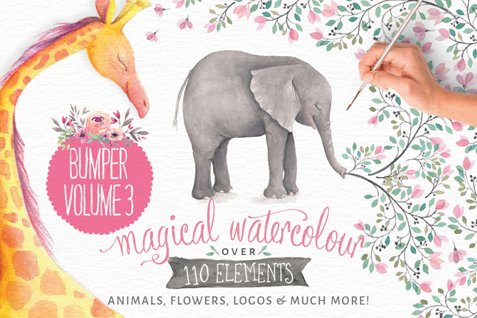 Lovely illustrated watercolor elements of animals, flowers, logos, and much more.
