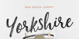 The Yorkshire brush script typeface has been created by Jeremy Vessey using both pen and brush.