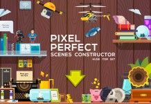 This Pixel Perfect Scenes Constructor includes a huge item set.