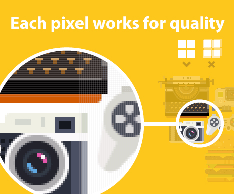 All included graphics are based on precise pixels.