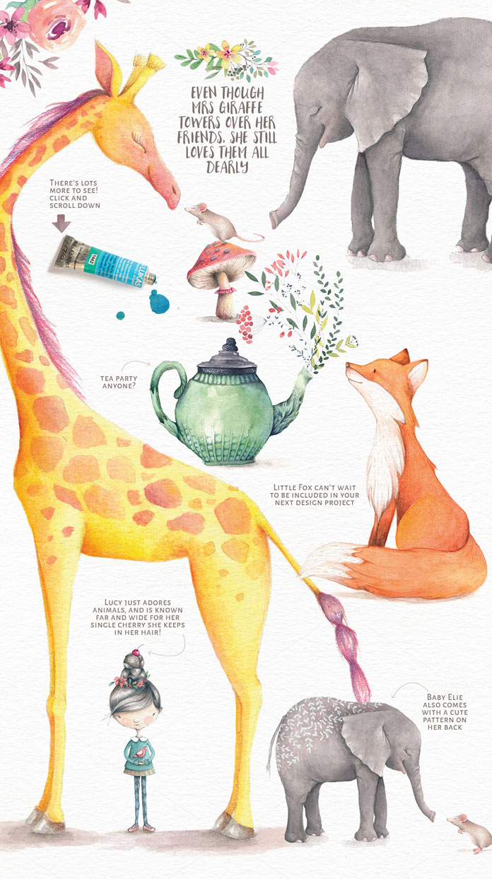 Lisa Glanz' lovely watercolor illustrations consist of 110 elements included as PNG and PSD files.
