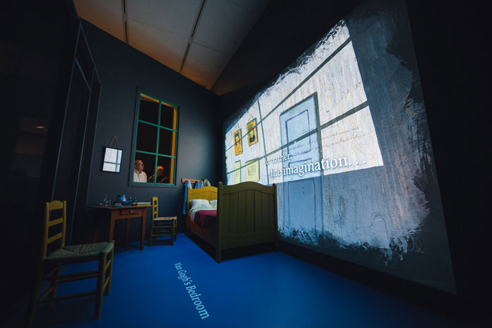 The Art Institute of Chicago will present Vincent Van Gogh's famous Bedroom paintings together with an interactive projection.