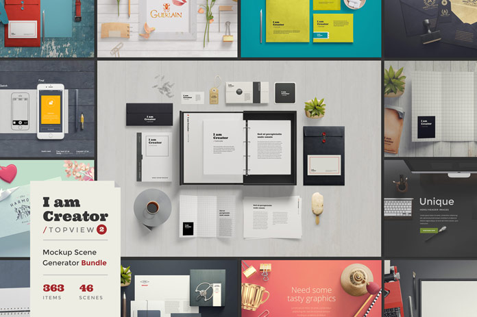 The am Creator top view set is a mockup scene generator bundle of 363 items and 46 scenes.