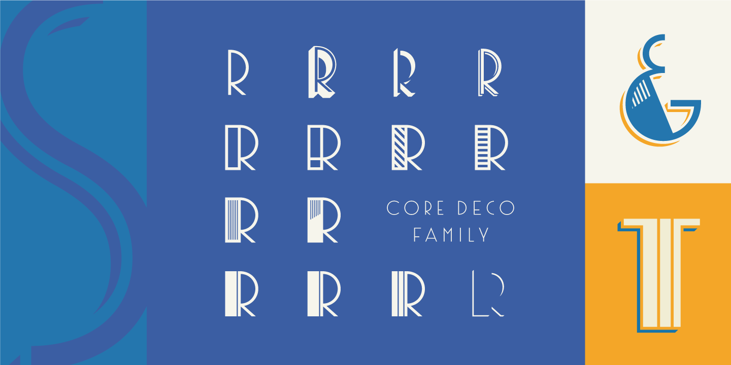 The fonts are inspired by art deco posters from late 1930s to 1950s.