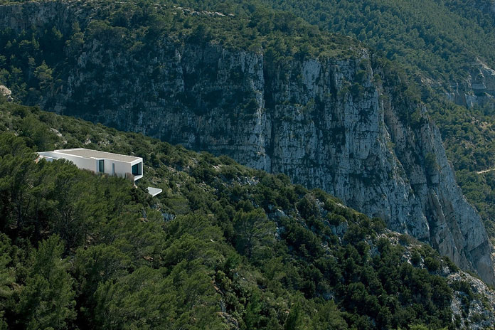 The luxurious dream house is situated on the top of a 159 metre cliffside in Ibiza, Spain.
