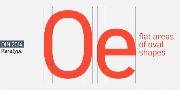 The typeface is characterized by flat areas of oval shapes.