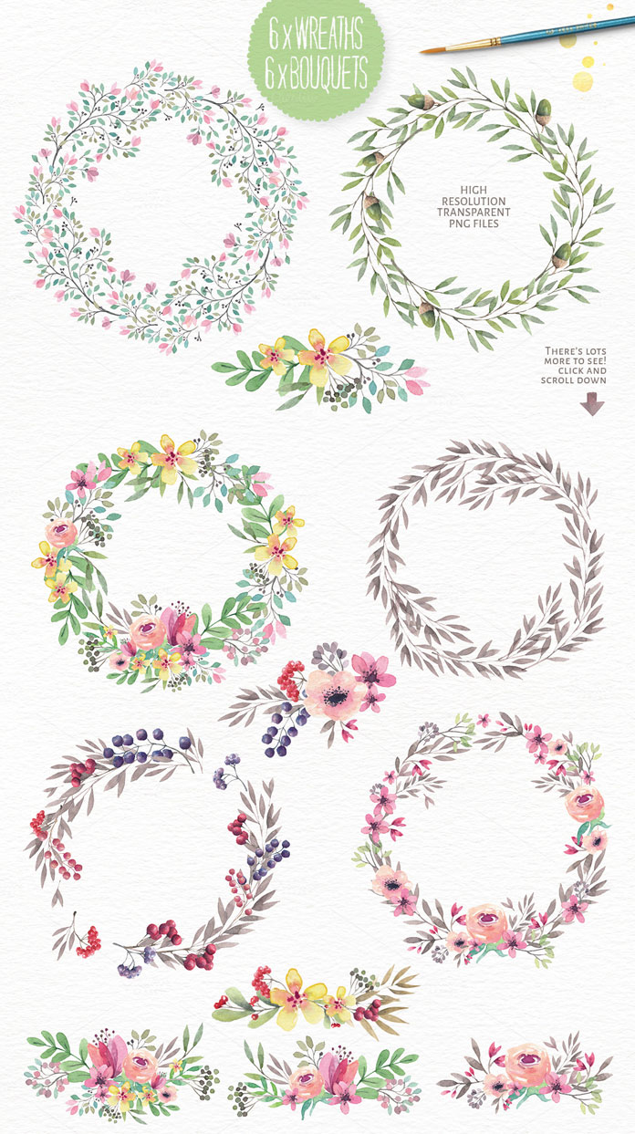 6 wreaths and 6 bouquets as high resolution, transparent PNG files.