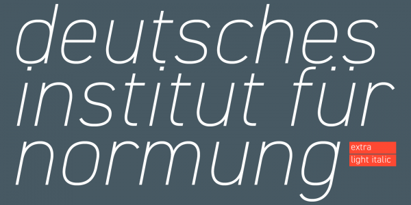 Example of the extra light italic version.