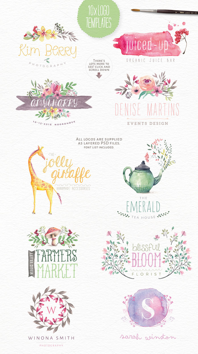 10 handpainted logo templates. All logos are supplied as layered PSD files with an included font list.