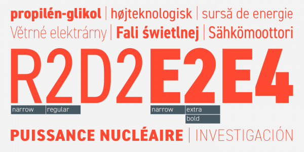 A typeface with lots of weights and widths as well as multi language support.