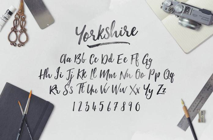 The character set of the Yorkshire typeface with uppercases and lowercases as well as numbers.