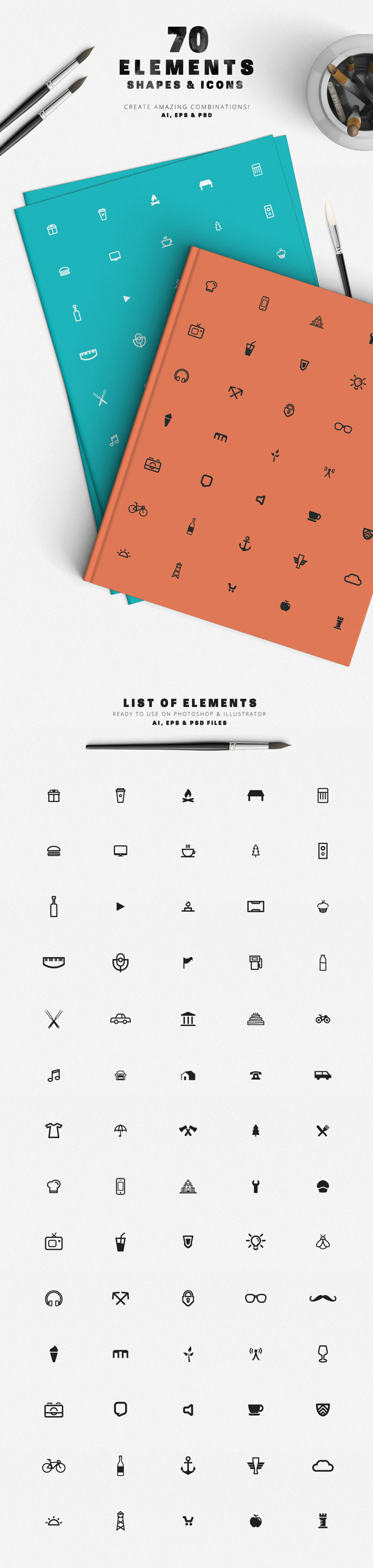 The included premium edition of DesignDistrict's logo creator consists of 70 vector elements of shapes and icons as AI, EPS, and PSD files.
