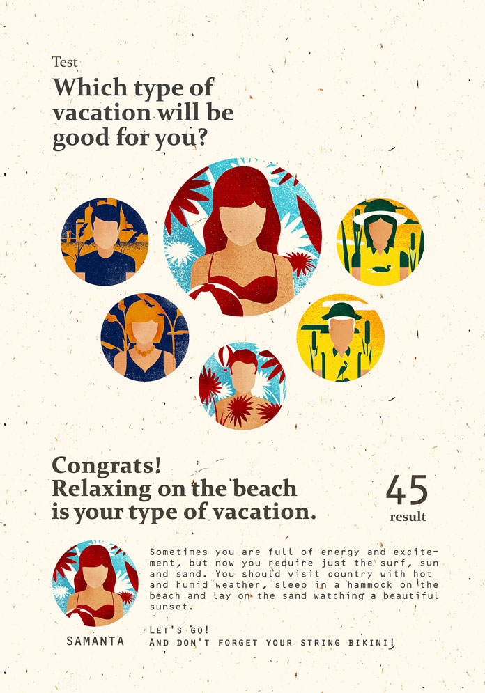 What type of vacation will you be? Work from a series of illustrations by Andriy Muzichka for an article that tells us about importance of vacation.