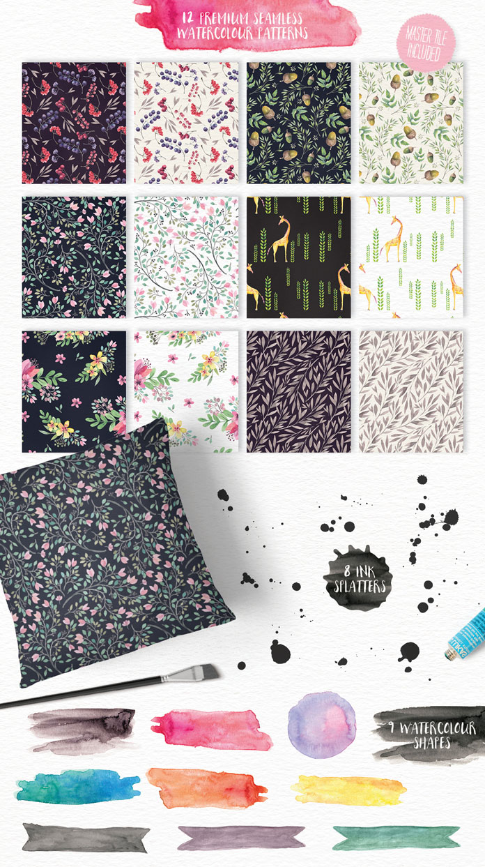 12 premium seamless watercolor patterns plus 8 ink splatters and 9 watercolor shapes.