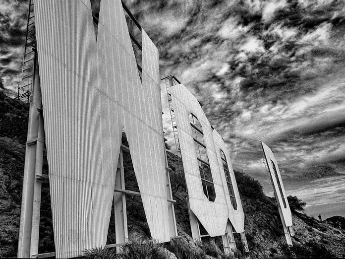 Another close up of the big letters on top of Mount Lee. Black and white picture taken by Ted VanCleave.