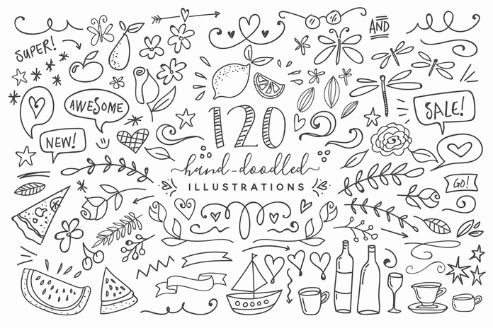 The download pack also includes over 120 free hand doodled illustrations that will fit seamlessly into your design.