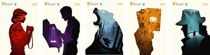 BAFTA 2016 – Best Film posters all together including illustrations of the movies Carol, Spotlight, The Revenant, Big Short, and Bridge of Spies.
