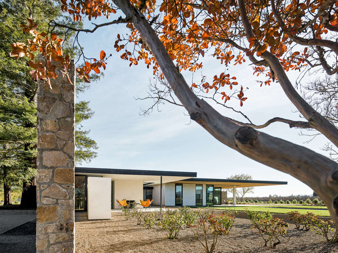Jørgensen Design has developed a modern home surrounded by vineyards.