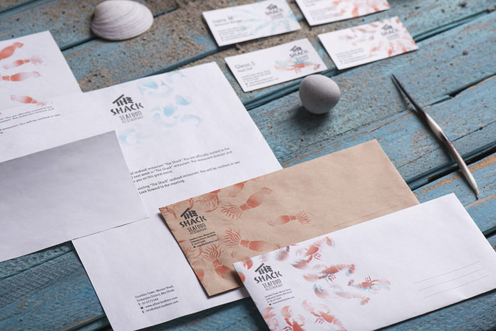 The Backbone Branding studio has also created a stationery set for the small seafood restaurant.