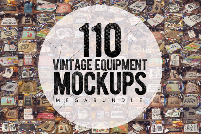 A vintage mockups mega bundle including 110 templates of old art and photography equipment.