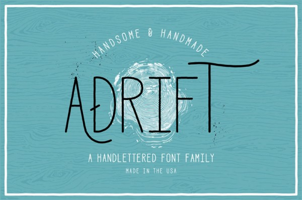 Adrift is a handlettered font family.