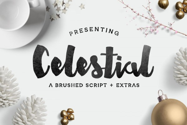 Celestial is a brushed script with numerous extras.
