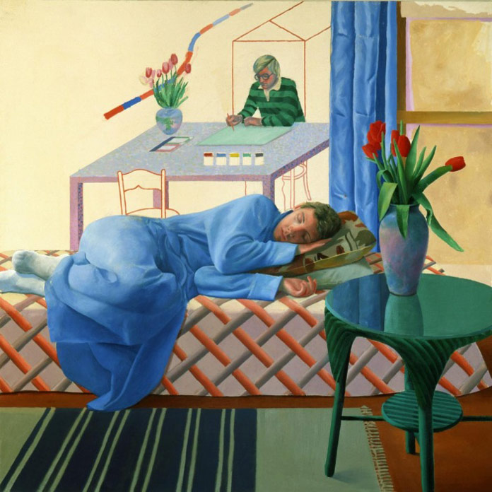 David Hockney – Model with Unfinished Self-Portrait from 1977.